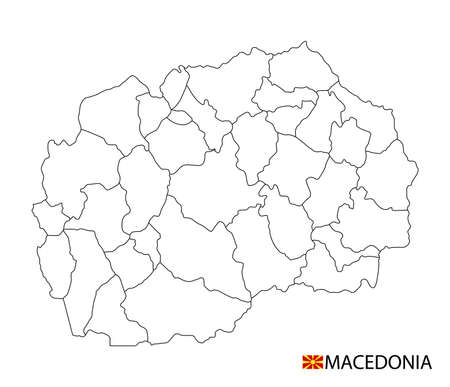 Macedonia map, black and white detailed outline regions of the country. Vector illustration 矢量图像