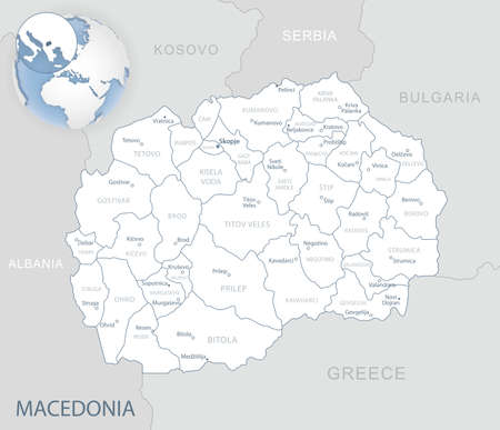 Blue-gray detailed map of Macedonia administrative divisions and location on the globe. Vector illustration  イラスト・ベクター素材