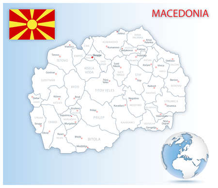 Detailed Macedonia administrative map with country flag and location on a blue globe. Vector illustration