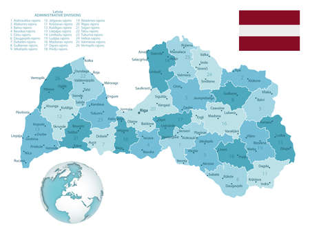 Latvia administrative blue-green map with country flag and location on a globe. Vector illustration