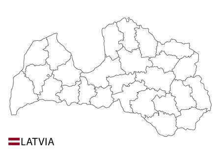Latvia map, black and white detailed outline regions of the country. Vector illustration