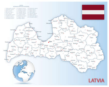 Detailed Latvia administrative map with country flag and location on a blue globe. Vector illustration