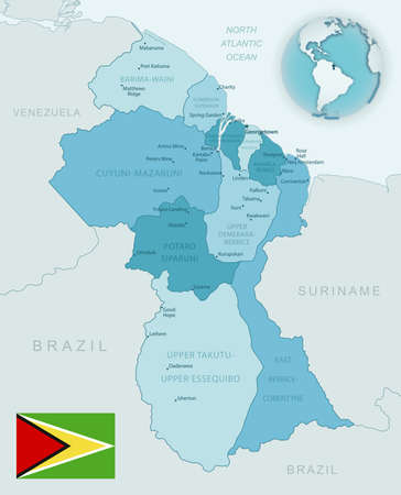 Blue-green detailed map of Guyana administrative divisions with country flag and location on the globe. Vector illustration