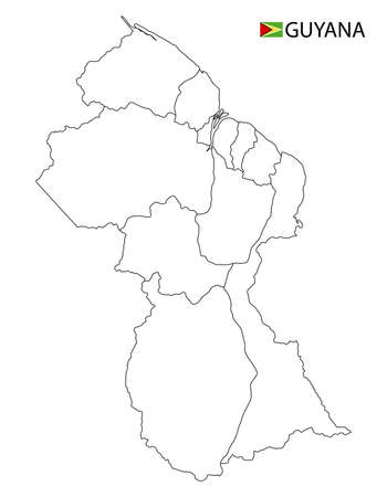 Guyana map, black and white detailed outline regions of the country. Vector illustration 矢量图像