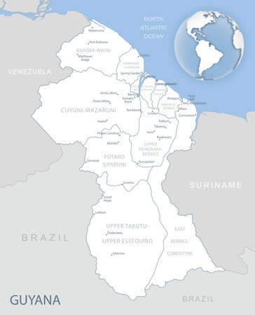 Blue-gray detailed map of Guyana administrative divisions and location on the globe. Vector illustration