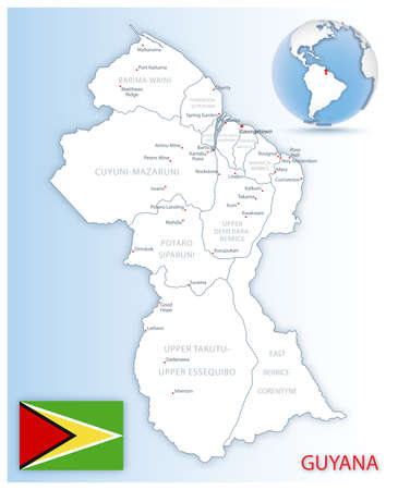 Detailed Guyana administrative map with country flag and location on a blue globe. Vector illustration