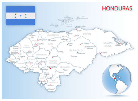 Detailed Honduras administrative map with country flag and location on a blue globe. Vector illustration