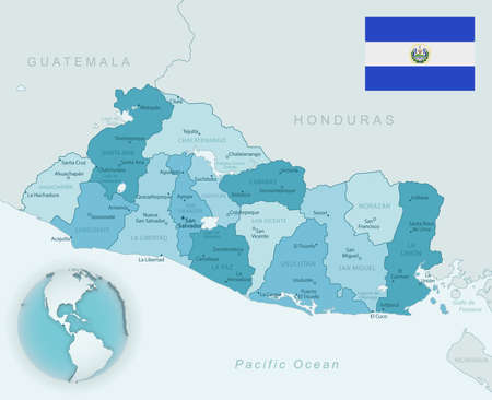 Blue-green detailed map of El Salvador administrative divisions with country flag and location on the globe. Vector illustration 免版税图像