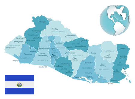 El Salvador administrative blue-green map with country flag and location on a globe. Vector illustration