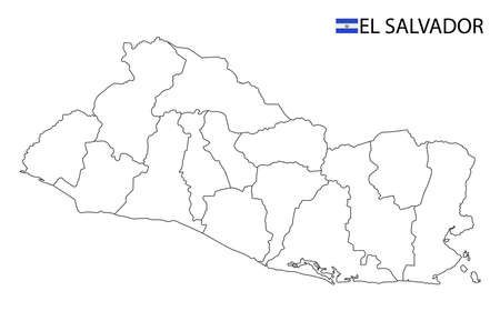 El Salvador map, black and white detailed outline regions of the country. Vector illustration