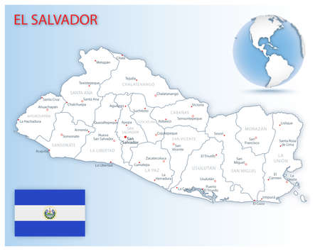 Detailed map of El Salvador administrative divisions with country flag and location on the globe. Vector illustration