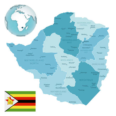 Zimbabwe administrative blue-green map with country flag and location on a globe. Vector illustration