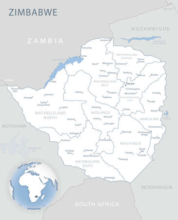 Blue-gray detailed map of Zimbabwe administrative divisions and location on the globe. Vector illustration