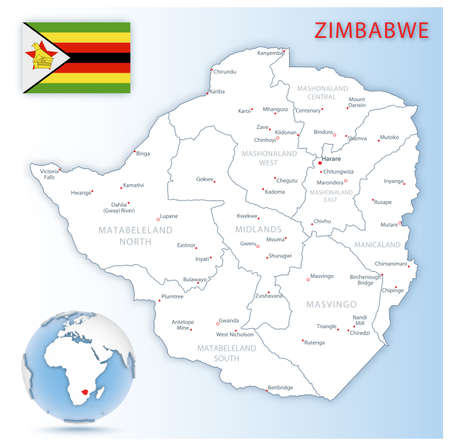 Detailed Zimbabwe administrative map with country flag and location on a blue globe. Vector illustration 矢量图像