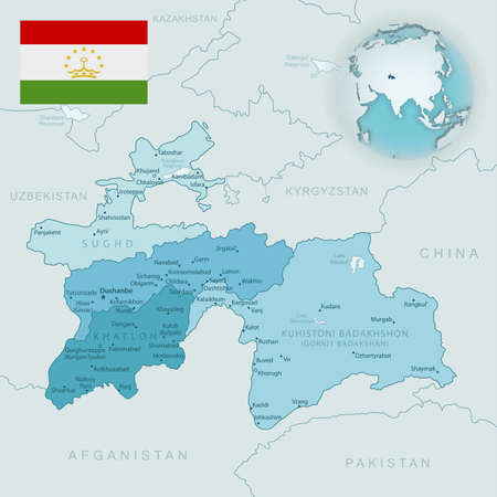 Blue-green detailed map of Tajikistan administrative divisions with country flag and location on the globe. Vector illustration