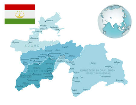Tajikistan administrative blue-green map with country flag and location on a globe. Vector illustration