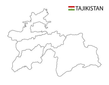 Tajikistan map, black and white detailed outline regions of the country. Vector illustration