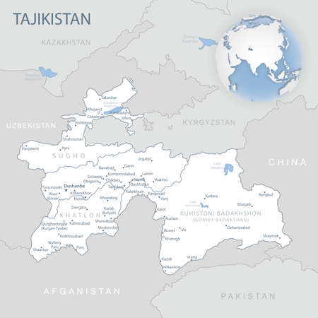 Blue-gray detailed map of Tajikistan administrative divisions and location on the globe. Vector illustration