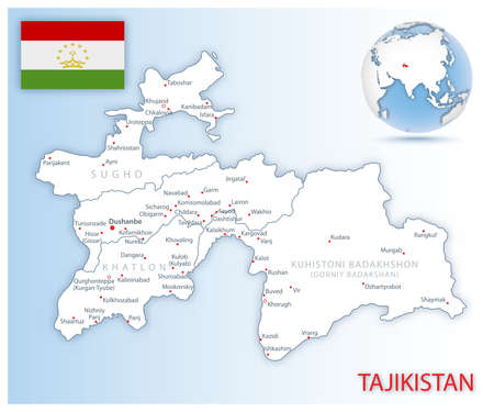 Detailed Tajikistan administrative map with country flag and location on a blue globe. Vector illustration 矢量图像
