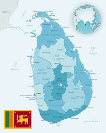 Blue-green detailed map of Sri Lanka administrative divisions with country flag and location on the globe. Vector illustration