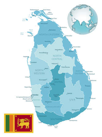Sri Lanka administrative blue-green map with country flag and location on a globe. Vector illustration