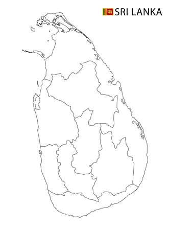 Sri Lanka map, black and white detailed outline regions of the country. Vector illustration 矢量图像