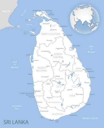 Blue-gray detailed map of Sri Lanka administrative divisions and location on the globe. Vector illustration Vector Illustratie