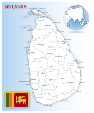 Detailed map of Sri Lanka administrative divisions with country flag and location on the globe. Vector illustration