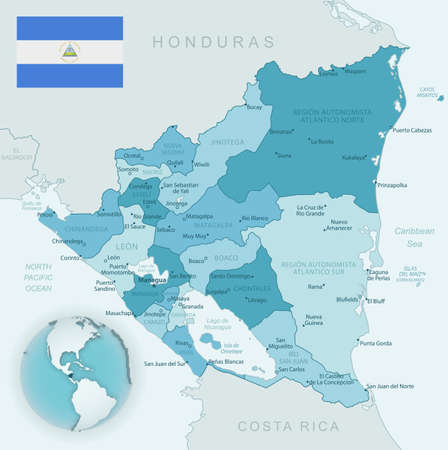Blue-green detailed map of Nicaragua administrative divisions with country flag and location on the globe. Vector illustration 免版税图像
