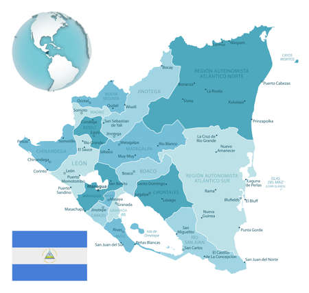 Nicaragua administrative blue-green map with country flag and location on a globe. Vector illustration