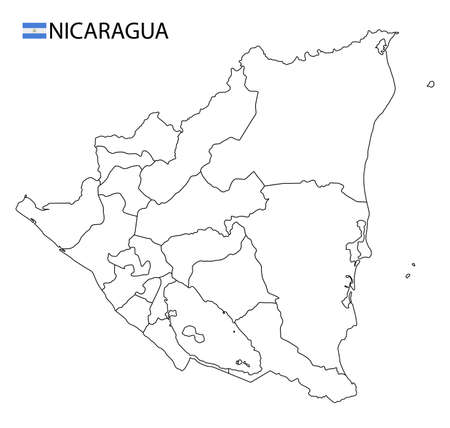 Nicaragua map, black and white detailed outline regions of the country. Vector illustration 矢量图像