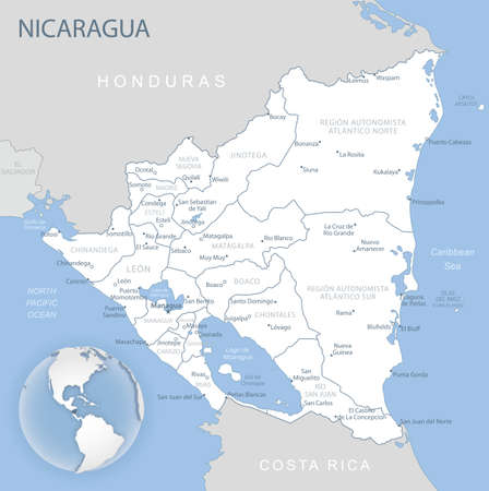 Blue-gray detailed map of Nicaragua and administrative divisions and location on the globe. Vector illustration