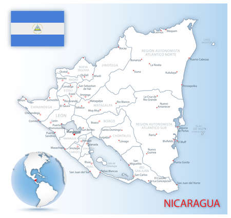 Detailed Nicaragua administrative map with country flag and location on a blue globe. Vector illustration
