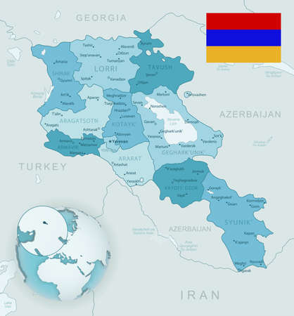 Blue-green detailed map of Armenia administrative divisions with country flag and location on the globe. Vector illustration