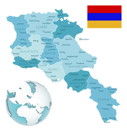 Armenia administrative blue-green map with country flag and location on a globe. Vector illustration 矢量图像