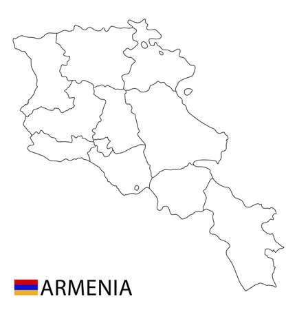 Armenia map, black and white detailed outline regions of the country. Vector illustration 矢量图像
