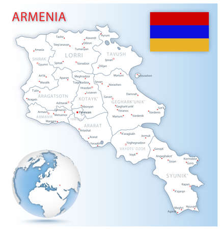 Detailed Armenia administrative map with country flag and location on a blue globe. Vector illustration