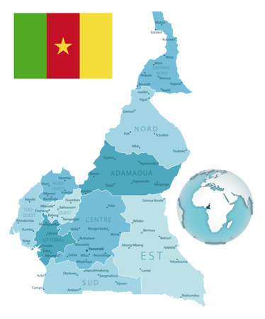 Cameroon administrative blue-green map with country flag and location on a globe. Vector illustration