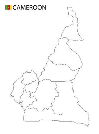 Cameroon map, black and white detailed outline regions of the country. Vector illustration