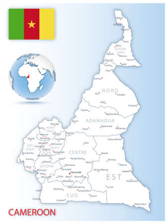 Detailed Cameroon administrative map with country flag and location on a blue globe. Vector illustration