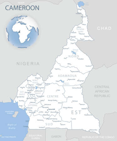 Blue-gray detailed map of Cameroon administrative divisions and location on the globe. Vector illustration