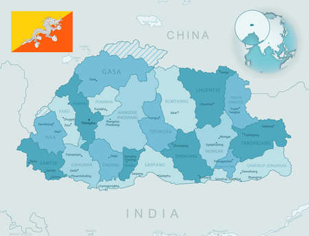 Blue-green detailed map of Bhutan administrative divisions with country flag and location on the globe. Vector illustration