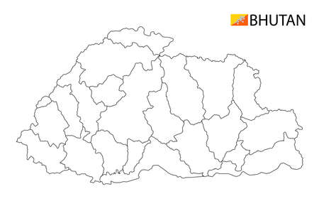 Bhutan map, black and white detailed outline regions of the country. Vector illustration