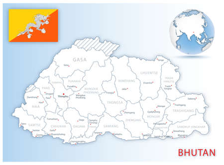 Detailed Bhutan administrative map with country flag and location on a blue globe. Vector illustration