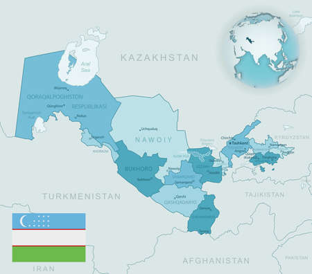 Blue-green detailed map of Uzbekistan administrative divisions with country flag and location on the globe. Vector illustration 矢量图像