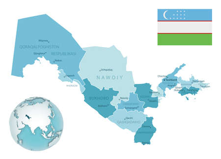 Uzbekistan administrative blue-green map with country flag and location on a globe. Vector illustration