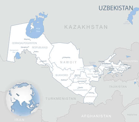 Blue-gray detailed map of Uzbekistan administrative divisions and location on the globe. Vector illustration