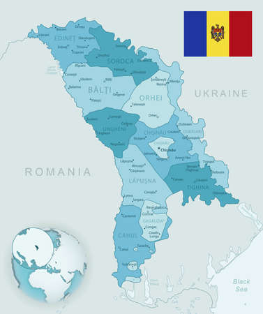 Blue-green detailed map of Moldova administrative divisions with country flag and location on the globe. Vector illustration