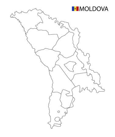 Moldova map, black and white detailed outline regions of the country. Vector illustration 矢量图像