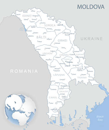 Blue-gray detailed map of Moldova administrative divisions and location on the globe. Vector illustration 矢量图像